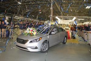 Hyundai Motor Manufacturing Alabama Team members celebrate the launch of 7th generation Sonata